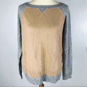 Halogen Grey Orange Colorblock Cashmere Sweater XL